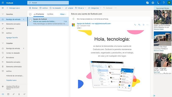 Bandeja de entrada del correo electronico Outlook