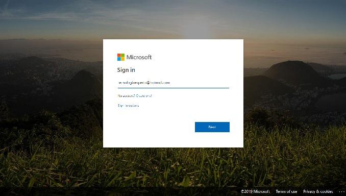 Pagina de inicio de sesión de Microsoft