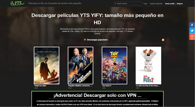 YTS, se trata de la web de YIFI, esta cerró en el 2015