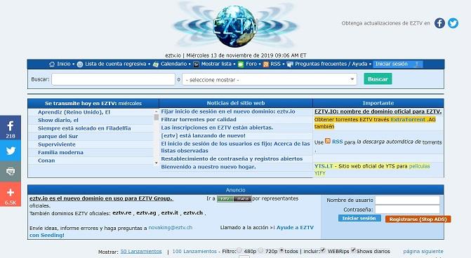 Descarga las mejores series y pelioculas con EZTV.ag, descargar torrents