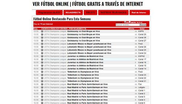 Lista de partidos de fútbol online Intergoles