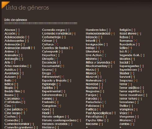 Lista de generos
