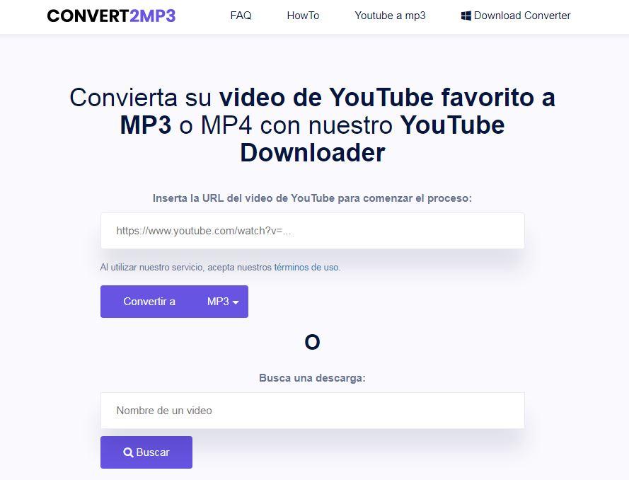 Convertidor de YouTube a mp3 Convert2MP3
