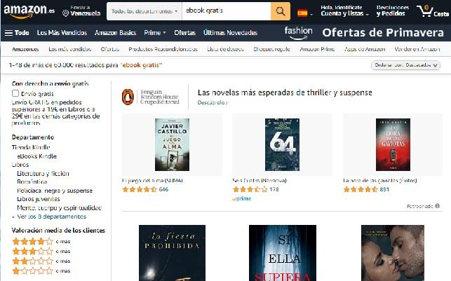 Mejores webs para descargar libros gratis en PDF, Ebooks y ePub sin registrarse - Amazon eBooks
